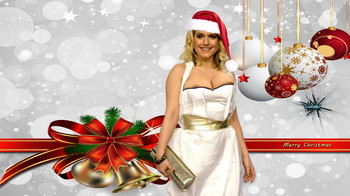 Jeanette Biedermann boobs pop out from tight dress on Merry Christmas postcard UHQ